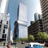 ドイツのフランクフルトでビルの真ん中付近が横にズレた超高層ビルが計画中