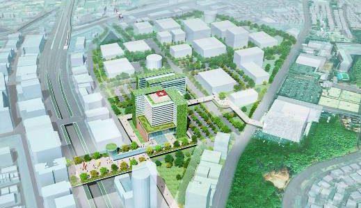 新駅「箕面船場駅」前の再開発エリアに計画されている、関西スポーツ科学・ヘルスケア総合センター(仮称)