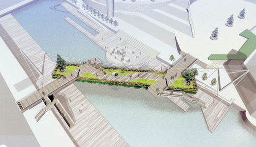 南堀江複合施設計画となんばハッチを結ぶ人道橋