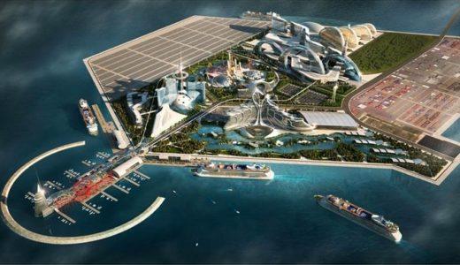 メルコ・クラウン・エンターテイメントによる夢洲IR構想 「シティ・オブ・ドリームズ大阪 」の完成イメージパース