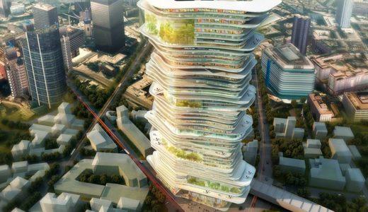 ロンドンで計画されている巨大なスロープ構造を持ったオーガニックデザインの超高層ビルが革新的!