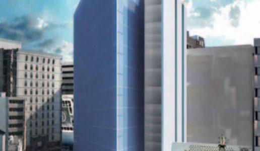 本町ビルディングの跡地に建設される大阪商工信用金庫新本店ビルの建設状況 15.03
