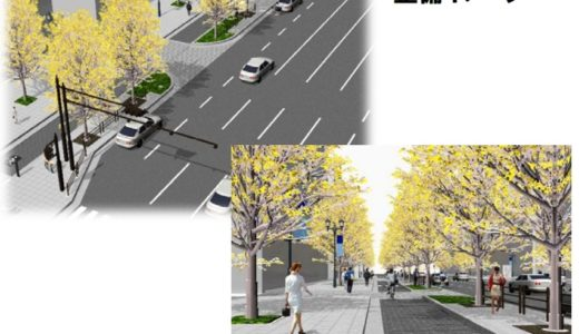 御堂筋の道路空間再編に向けたモデル整備を開始、千日前通以南(難波交差点~難波西口交差点間)の東側歩道が拡張されます!