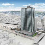 羽衣駅前地区第一種市街地再開発事業は、地上23階建・145戸のタワーマンションと商業施設の複合ビルに