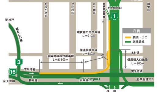 阪神高速-西船場JCTの建設状況 15.01