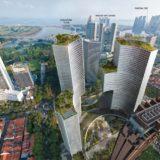 シンガポールの巨大なツインタワーDuo Residences(デュオレジデンス)の外壁は蜂の巣の様な六角形!