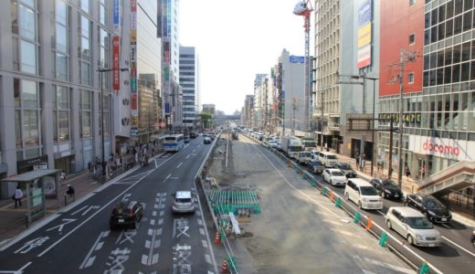 天王寺駅前の東西軸ー尼崎平野線工事の状況 16.04