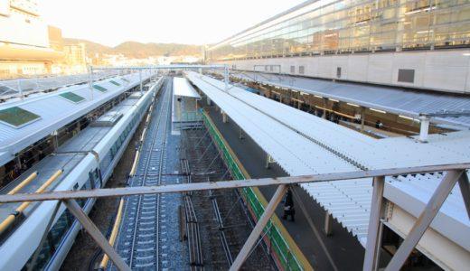 JR京都駅奈良線ホーム改良工事の状況 16.01〜拡幅された奈良線ホーム(8番のりば)はかなりの広さ!