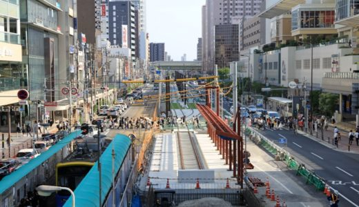 阪堺電気軌道上町線移設工事(阿倍野筋拡幅・尼崎平野線工事計画)の状況 16.05