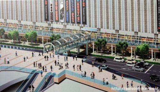 ヨドバシ梅田とルクアを接続する歩行者デッキ設置工事の状況 17.06 〜ヨドバシ梅田とルクアの東側を結ぶ歩行者デッキが一気に架設される!