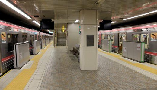 千日前線南巽駅で設置工事が行われている可動式ホーム柵(ホームドア)