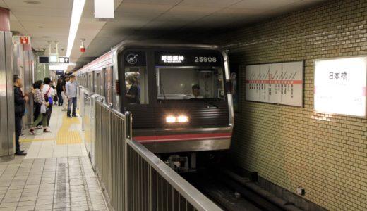 千日前線で設置工事が進む可動式ホーム柵がドンドン西側に進行。日本橋駅でも共用が始まる