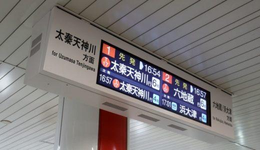京都市営地下鉄ー東西線に設置されたハーフワイドLCD(超横長液晶モニタ)方式の発車標