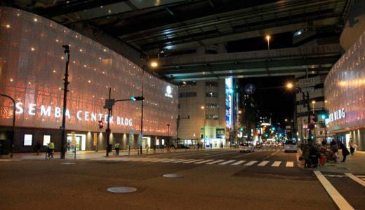 ライトアップが始まった船場センタービルは幻想的な雰囲気