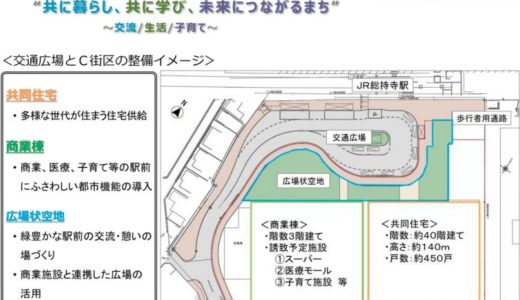 JR総持寺駅前に約40階建て、高さ約140m、総戸数約450戸のタワーマンション計画が浮上!商業施設はビエラ総持寺?