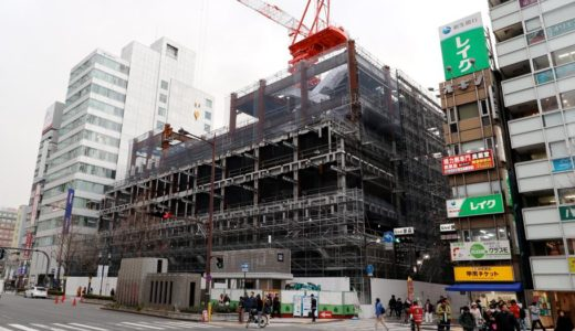 新歌舞伎座跡地に建設されるホテルロイヤルクラシック大阪(仮称)の状況 18.02