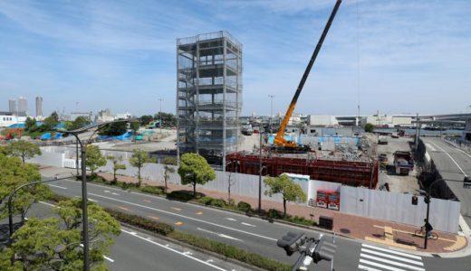 USJ近くに新たな巨大立体駐車場。新日鉄興和不動産、大阪市此花区立体駐車場計画(桜島第3駐車場新築工事)の建設状況 18.05