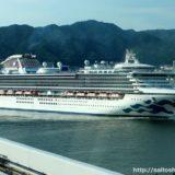 神戸港に入港したダイヤモンド・プリンセス号をポートライナーの車内から激写!