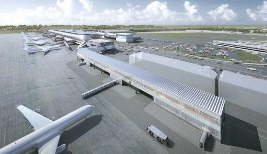 仙台国際空港で建設中の「ピア棟」は2018年11月供用開始予定。徒歩ゲート増設でピーク時間帯の増便が可能に