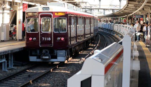 阪急電鉄十三駅で設置工事が進むホームドアの状況 18.07