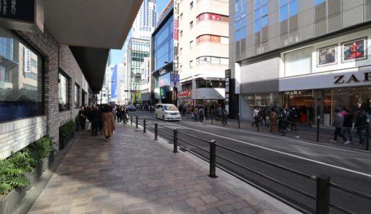 阪急梅田駅東側の道路の歩道拡幅工事が進行中。茶屋町方面の混雑緩和につながるか?