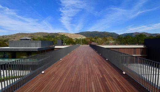 オープンした奈良公園バスターミナルの西棟と屋上庭園の様子