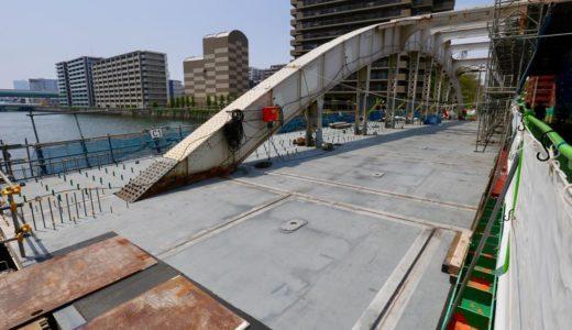 2020年1月末まで2年間通行止め。堂島大橋改良工事の状況 19.04