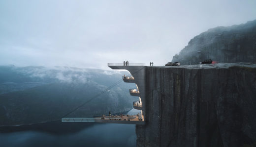 ノルウェーの崖からぶら下がっているブティックホテルのコンセプトパースが凄すぎる!