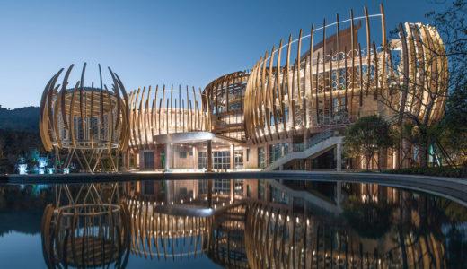 中国浙江省湖州市のMoganshanにある有機的なデザインのリゾートホテル
