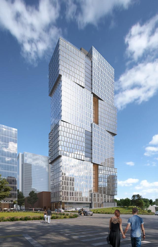 アルコーブプロジェクト、Goettsch Partnersがナッシュビルヤードに4層の立方体を積み重ねた高層ビルを設計