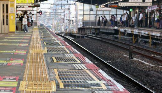 JR鶴橋駅ー環状線ホームでホームドア(可動式ホーム柵)設置工事の状況 20.08