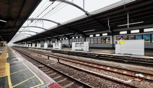 JR鶴橋駅ー環状線ホームの可動式ホーム柵(ホームドア)設置工事の状況 20.10