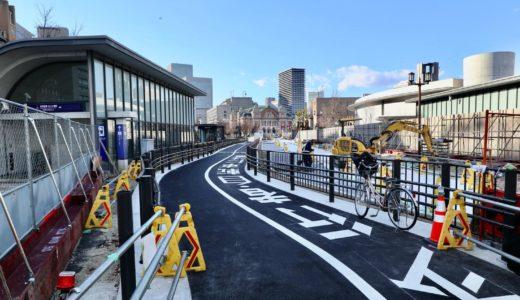 中之島通の歩行者空間化(公園化)整備工事の状況 21.02【2021年3月末完成予定】