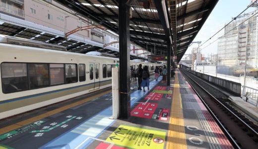 JR新今宮駅ー環状線ホームの可動式ホーム柵(ホームドア)設置工事の状況 20.11