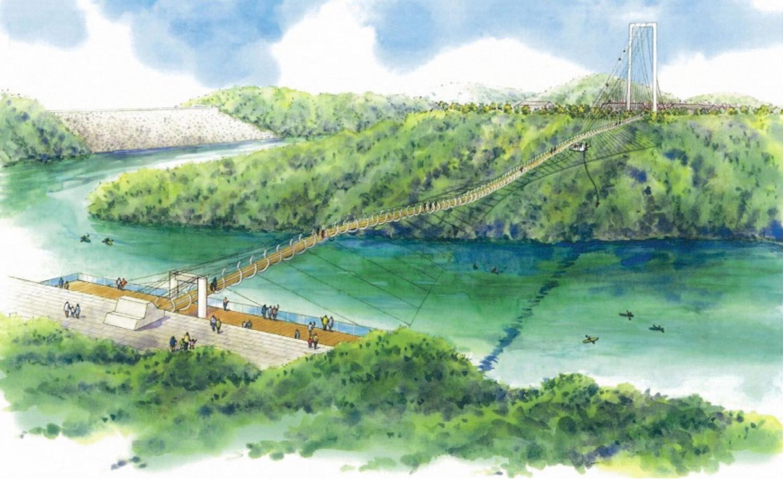 茨木市の安威川ダムに日本最長の人道吊り橋が誕生!中央部にバンジー ...