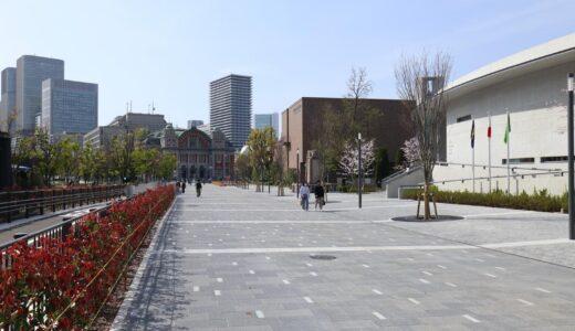 中之島通の歩行者空間化(公園化)整備工事の状況 21.04【2021年3月末完成予定】