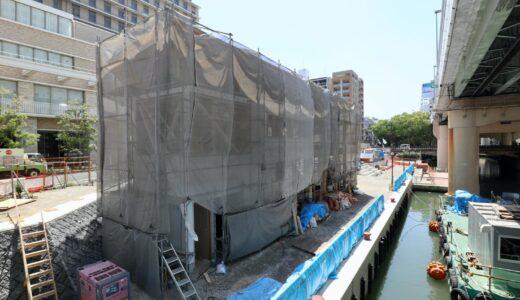 β本町橋(ベータ本町橋BASE)東横堀川水辺の賑わい拠点づくり建設工事の状況 21.05【2021年夏オープン予定】