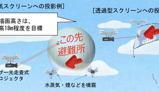ドローンを活用し水蒸気とレーザー描画により空中に大きな絵を描く!2025大阪万博に向けた夢洲実証実験