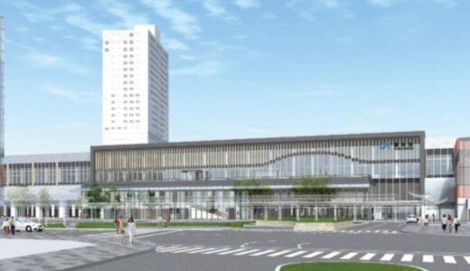 北陸新幹線 福井駅の外部足場解体と化粧ルーバーの取り付けが7月末までに完了、8月上旬に駅名標が登場!