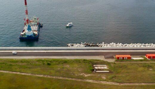 関西空港の護岸かさ上げ工事が完了!消波ブロックの設置は10月末に完成へ